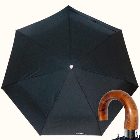 черный мужской зонт полный автомат с деревянной ручкой