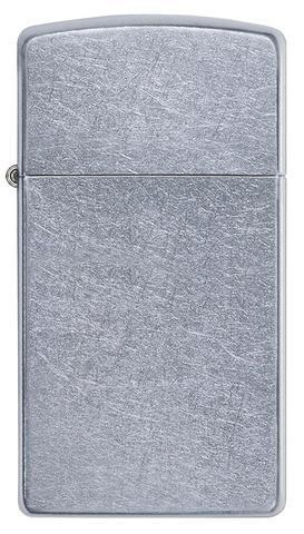 Зажигалка Zippo Slim Street Chrome, латунь/сталь, серебристая, матовая, 30х10x55 мм