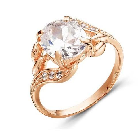 Серебряное кольцо с фианитами и позолотой