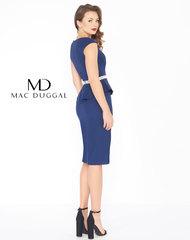 Mac duggal 85523 синее,однотонное платье с баской и поясом украшенным камнями
