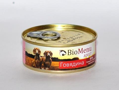 BioMenu ADULT Консервы д/собак Говядина 95%-МЯСО 100гр*24