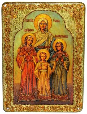 Инкрустированная икона Вера, Надежда, Любовь и мать их София 29х21см на натуральном дереве в подарочной коробке