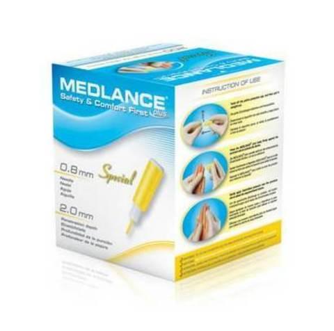 Ланцет Медланс плюс Спешиал лезвие 2.0 мм (Medlance plus Special 2,0 mm ) для капиллярного забора крови 200шт, желтые /HTL-STREFA S.A., Польша/