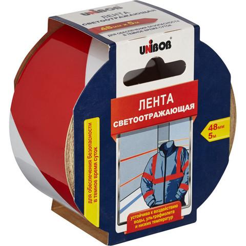 Сигнальная клейкая лента светоотражающая Unibob красная/белая 48 мм x 5 м