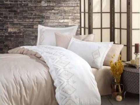 Комплект постельного белья DANTELA VITA сатин с вышивкой Евро KUMSAL