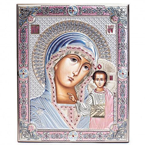 Серебряная икона Божией Матери Казанской, цветной лак