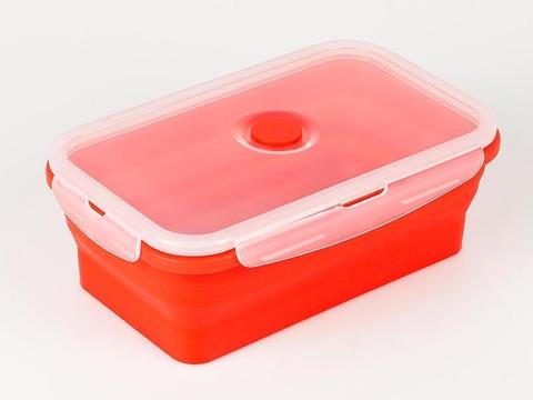 Силиконовый контейнер складной 800 мл. красный
