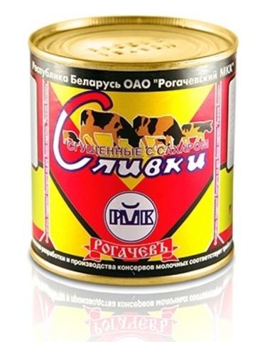 Сливки сгущённые с сахаром 19% 360г. ж/б Рогачёв