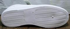 Спортивные кожаные туфли на плоской подошве женские El Passo 820 All White.