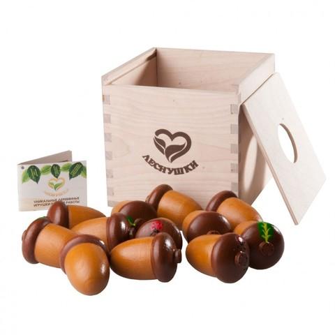 Счетный материал 12 желудей в коробочке-сортере