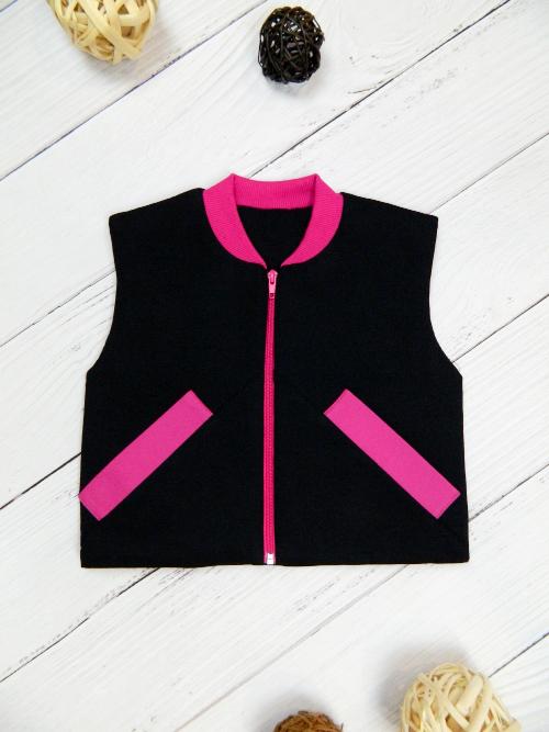 Жилет 3141, черно-розовый