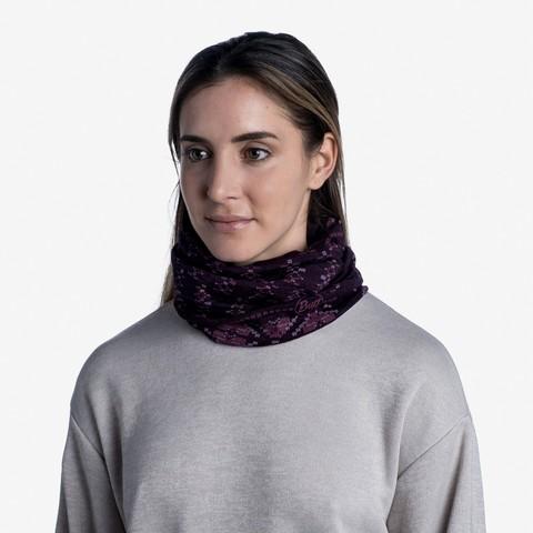 Тонкий шерстяной шарф-труба Buff Wool lightweight Frieze Deep Purple фото 2