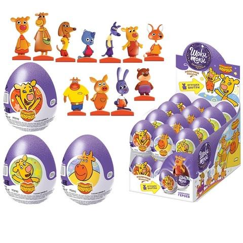 ШОКИ-ТОКИ ОРАНЖЕВАЯ КОРОВА Шоколадное яйцо с игрушкой 1кор*6бл*24шт, 20г.
