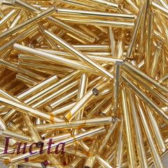 17020 Бисер Preciosa витой стеклярус 30 мм, золотой с серебряным центром