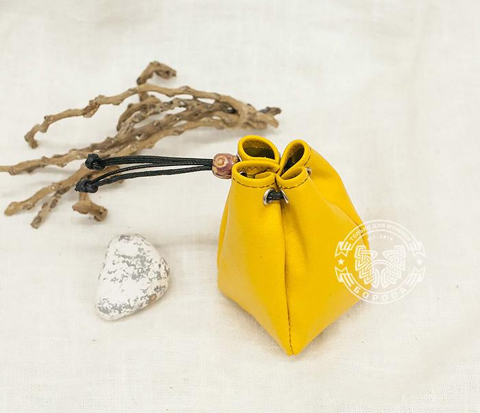 WL223-4 Желтый кисет ручной работы из натуральной кожи фото 02