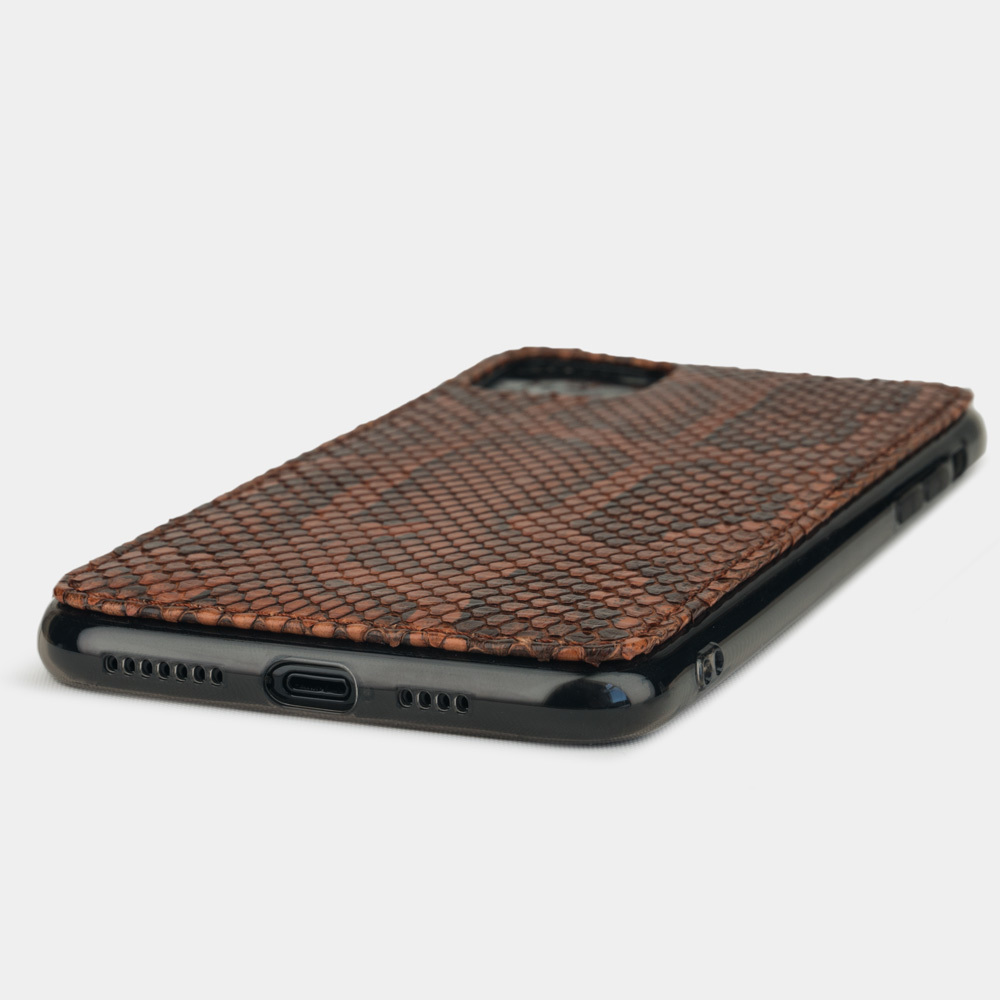 Чехол-накладка для iPhone 11 Pro Max из натуральной кожи питона, цвета коньяк