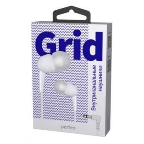 Perfeo наушники внутриканальные GRID белые силиконовый провод PF_A4946