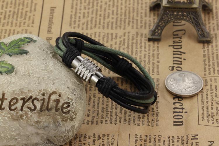 Мужской браслет 17 см из кожаного шнура с замочком Steelman mn035