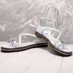 Белые босоножки сандалии женские кожаные Evromoda 454-402 White.