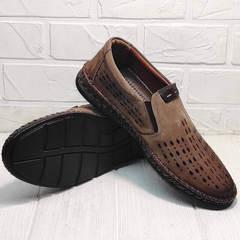 Кожаные слипоны туфли с перфорацией casual premium Luciano Bellini 91737-S-307 Coffee.