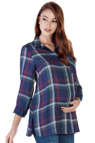 Рубашка для беременных 09143 клетка