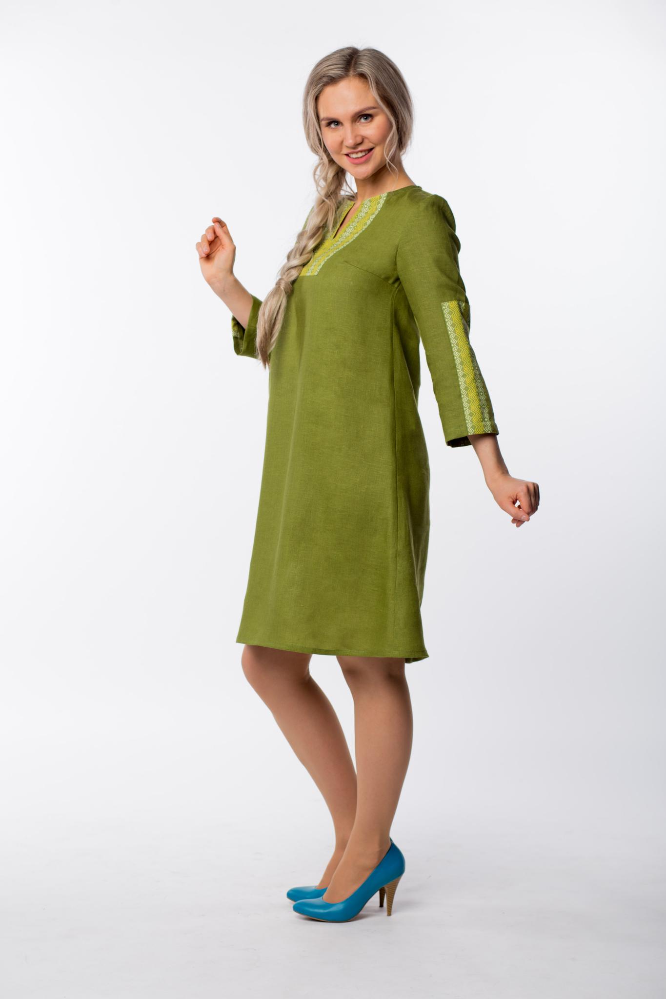 Платье льняное Розмарин вид сбоку