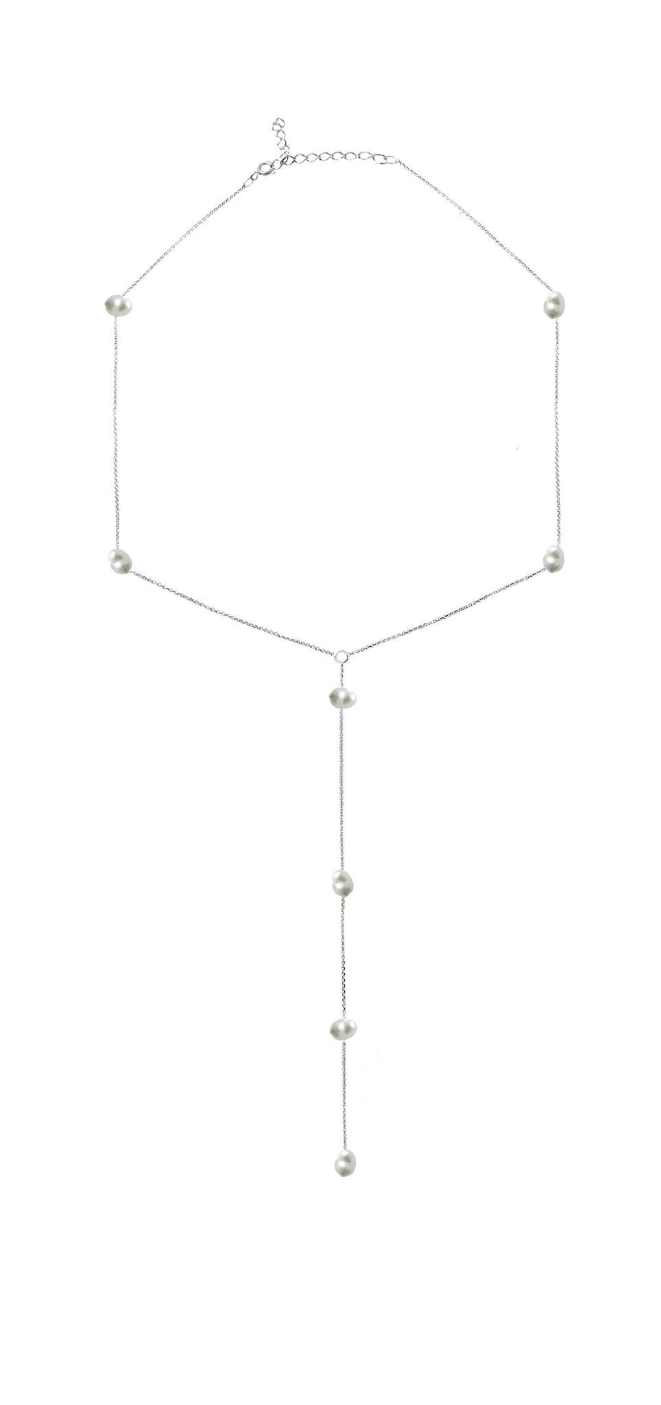 Серебряное колье галстук с культивированным жемчугом