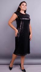 Соло. Коктейльное платье с пайетками плюс сайз. Черный.