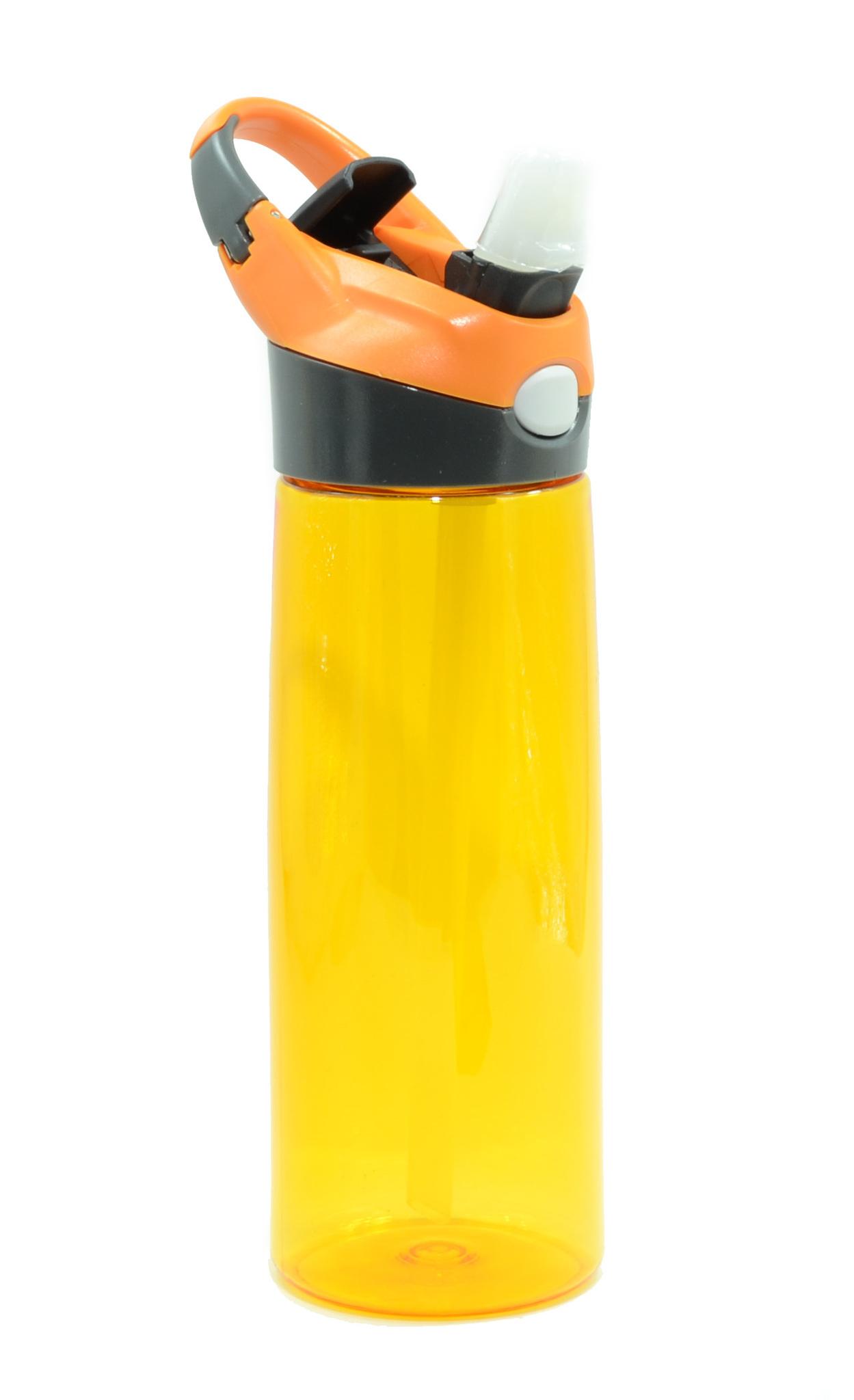 Бутылка для воды Muggs Flip Straw с трубочкой 600 мл. оранжевая