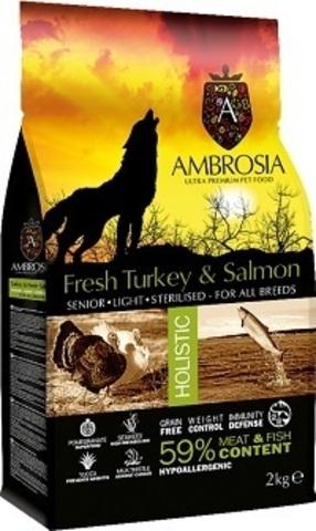 Ambrosia Senior & Sterilized Turkey & Salmon - Для пожилых стерилизованных собак, низкокалорийный, индейка/лосось 12 кг.