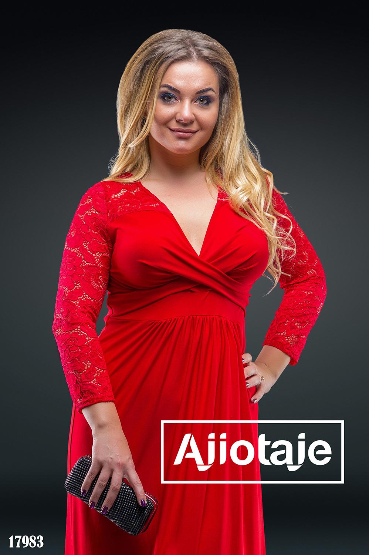 Платье в пол красного цвета с вырезом на запах