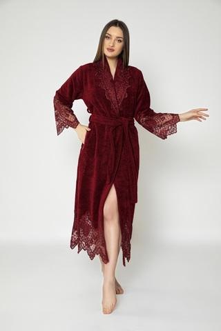 Халат женский махровый Adelaide 4095-1 бордовый NUSA Турция