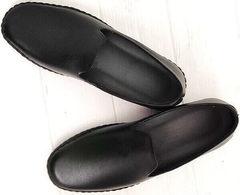 Стиль смарт кэжуал модные мужские туфли слипоны черные кожаные Broni M36-01 Black.