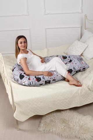 Подушка для беременных U350 (полистирол + лебяжий пух) 10090 котики