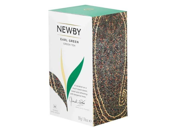 Чай зеленый в пакетиках Newby Earl green, 25 пак/уп