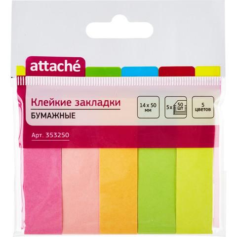 Клейкие закладки Attache бумажные 5 цветов по 50 листов 14х50 мм