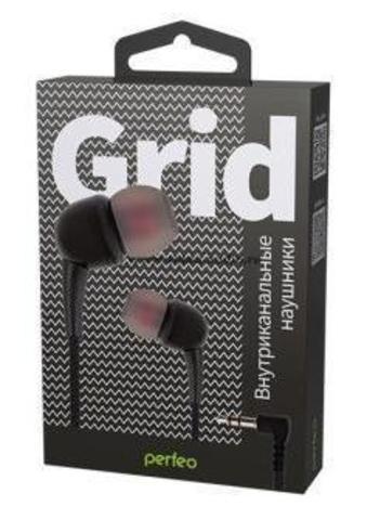 Perfeo наушники внутриканальные GRID черные силиконовый провод PF_A4947