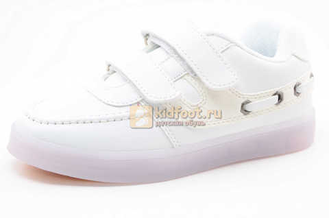 Светящиеся кроссовки с USB зарядкой Бебексия (BEIBEIXIA) для девочек цвет белый. Изображение 1 из 12.