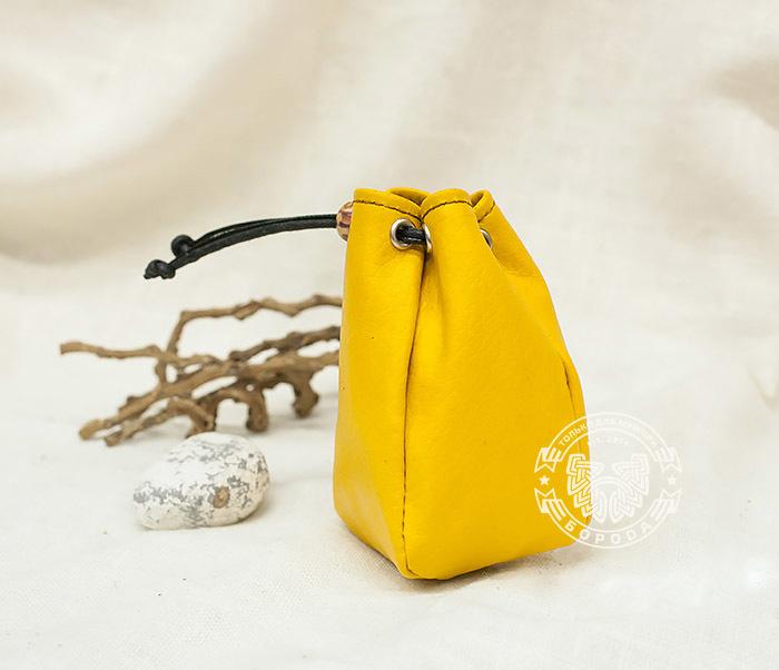 WL223-4 Желтый кисет ручной работы из натуральной кожи фото 03