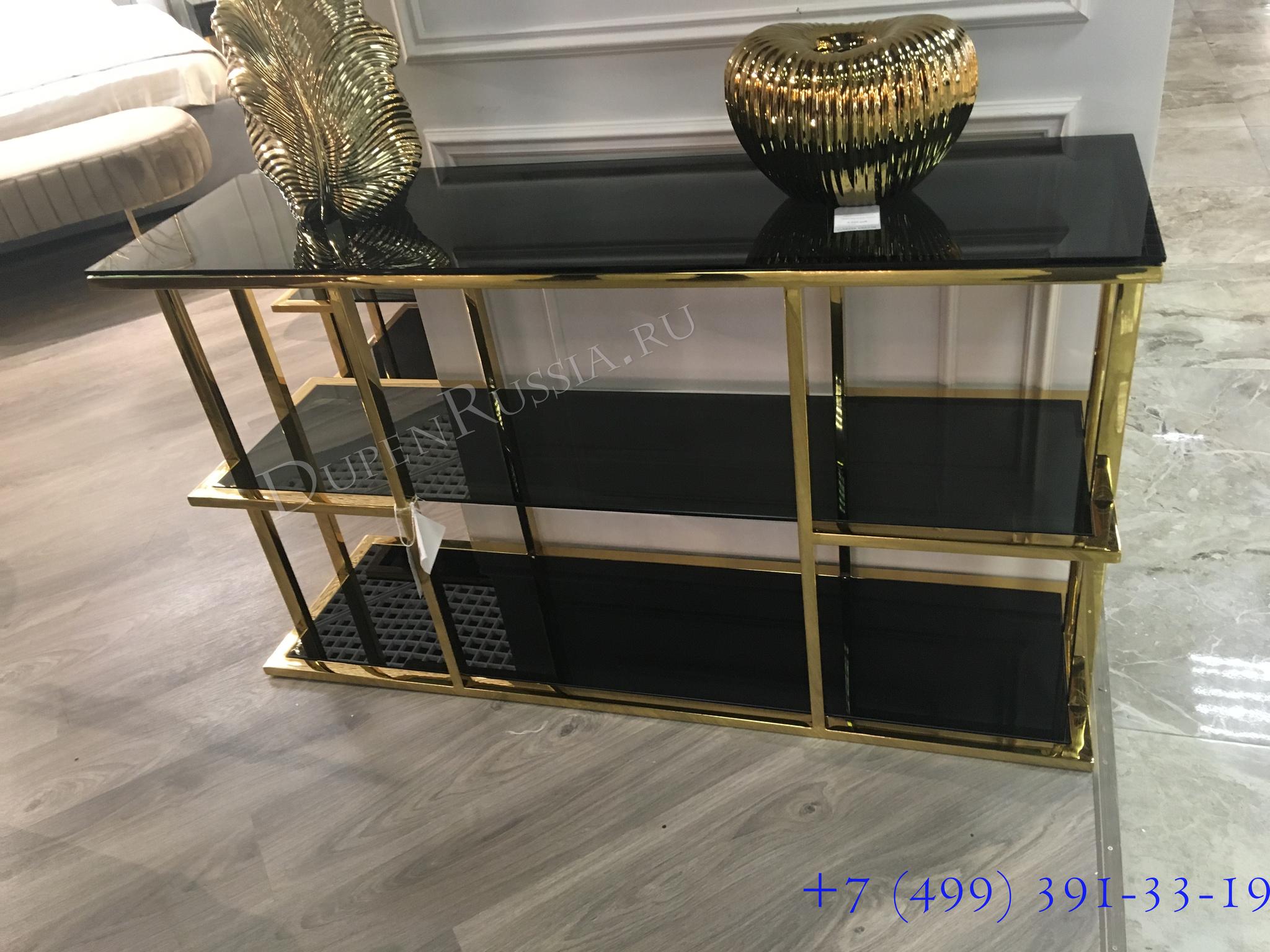 46AS-CST4616-GOLD Консоль золотистая/черная 140*40*80см