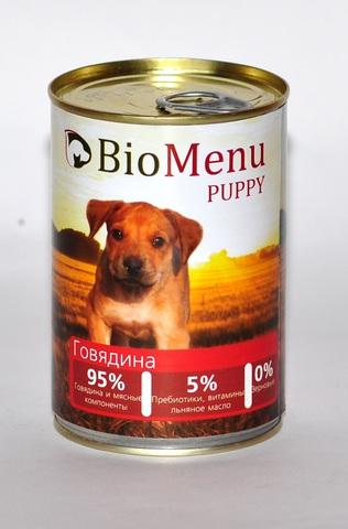 BioMenu PUPPY Консервы д/ЩЕНКОВ Говядина 95%-МЯСО 410гр*20