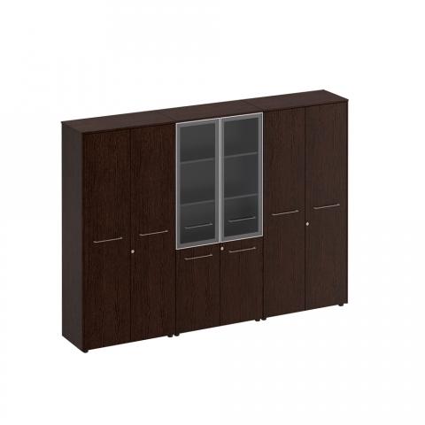 Шкаф комбинированный (стекло - одежда - закрытый) (274x46x196)