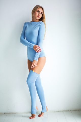 Боди с длинным рукавом, вырез лодочка (голубое)