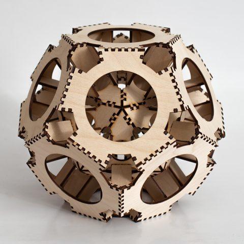 Деревянный конструктор-головоломка ДекорКоми - Шар многогранник 20см (3D пазлы)