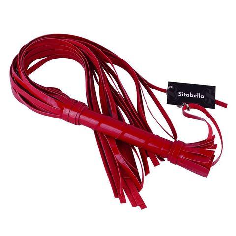 Красная лаковая плеть из искусственной кожи - 65 см.