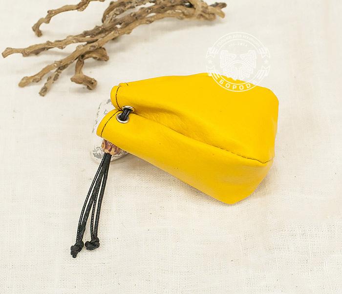 WL223-4 Желтый кисет ручной работы из натуральной кожи фото 04