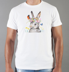 Футболка с принтом Заяц (Кролик) белая 003