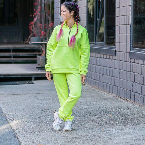 Warm trousers for women - Neon Green