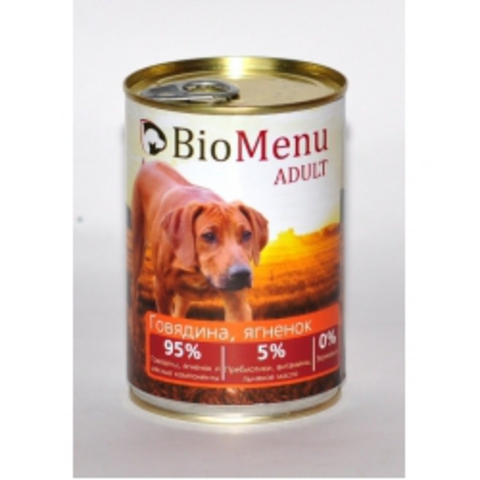 BioMenu ADULT Консервы д/собак Говядина/Ягненок 95%-МЯСО 410гр*20