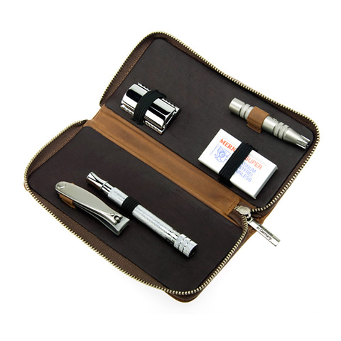 Набор бритвенный Dovo  (4016066) 4 предмета цвет коричневый кожаный футляр